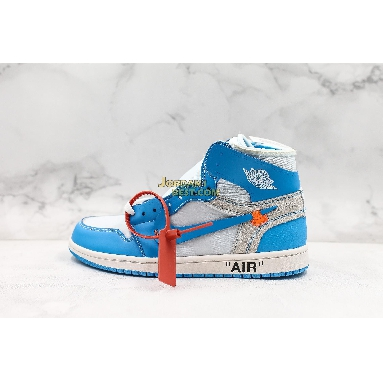 "top 3 fake OFF-WHITE x Air Jordan 1 Retro High OG ""UNC"" AQ0818-148 Mens white/dark powder blue-cone Shoes replicas On Wholesale Sale Online"