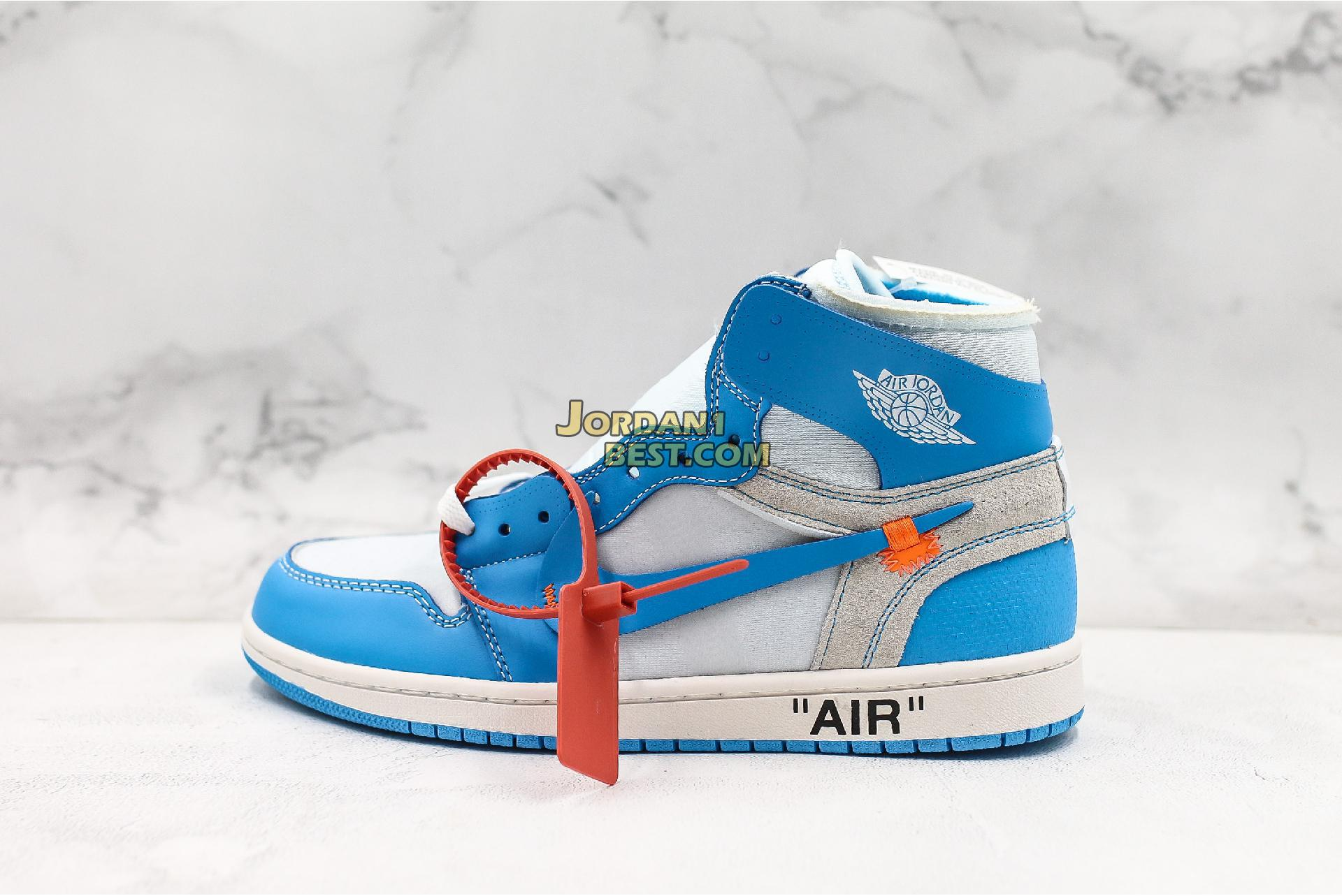 "OFF-WHITE x Air Jordan 1 Retro High OG ""UNC"" AQ0818-148 Mens"