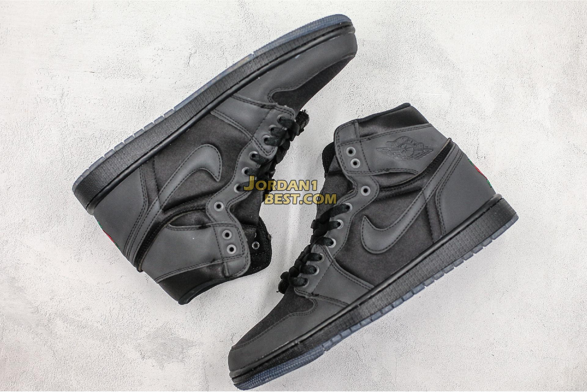 "Rox Brown x Air Jordan 1 Retro High OG ""Black"" BV1576-001 Mens Womens"