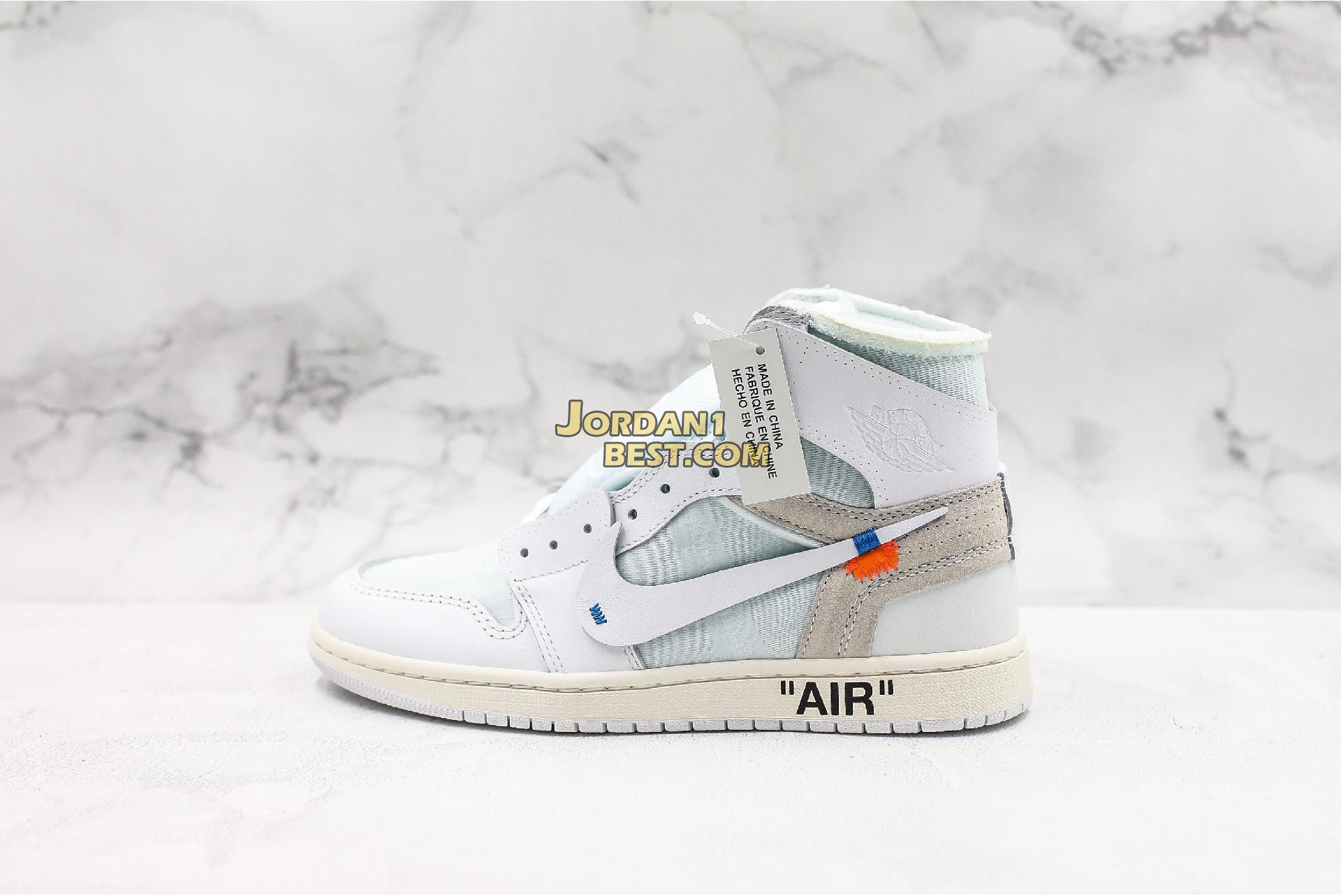 "OFF-WHITE x Air Jordan 1 Retro High OG BG ""White"" AQ8296-100 Mens Womens"