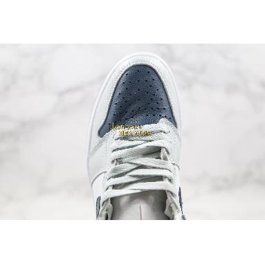 "new replicas Air Jordan 1 Retro High ""Snake Pattern"" CW8576-100 Mens Womens grey/white/blue-navy Shoes"