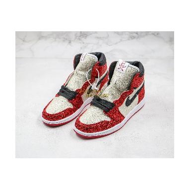 "best replicas Surgeon X Air Jordan 1 ""North Pole Chicago"" Custom Bred CK5566-610 Mens Womens red/black Shoes"