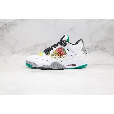 "new replicas Air Jordan 4 Retro ""Rasta"" AQ9129-100 Mens white/university red-lucid green-black Shoes"