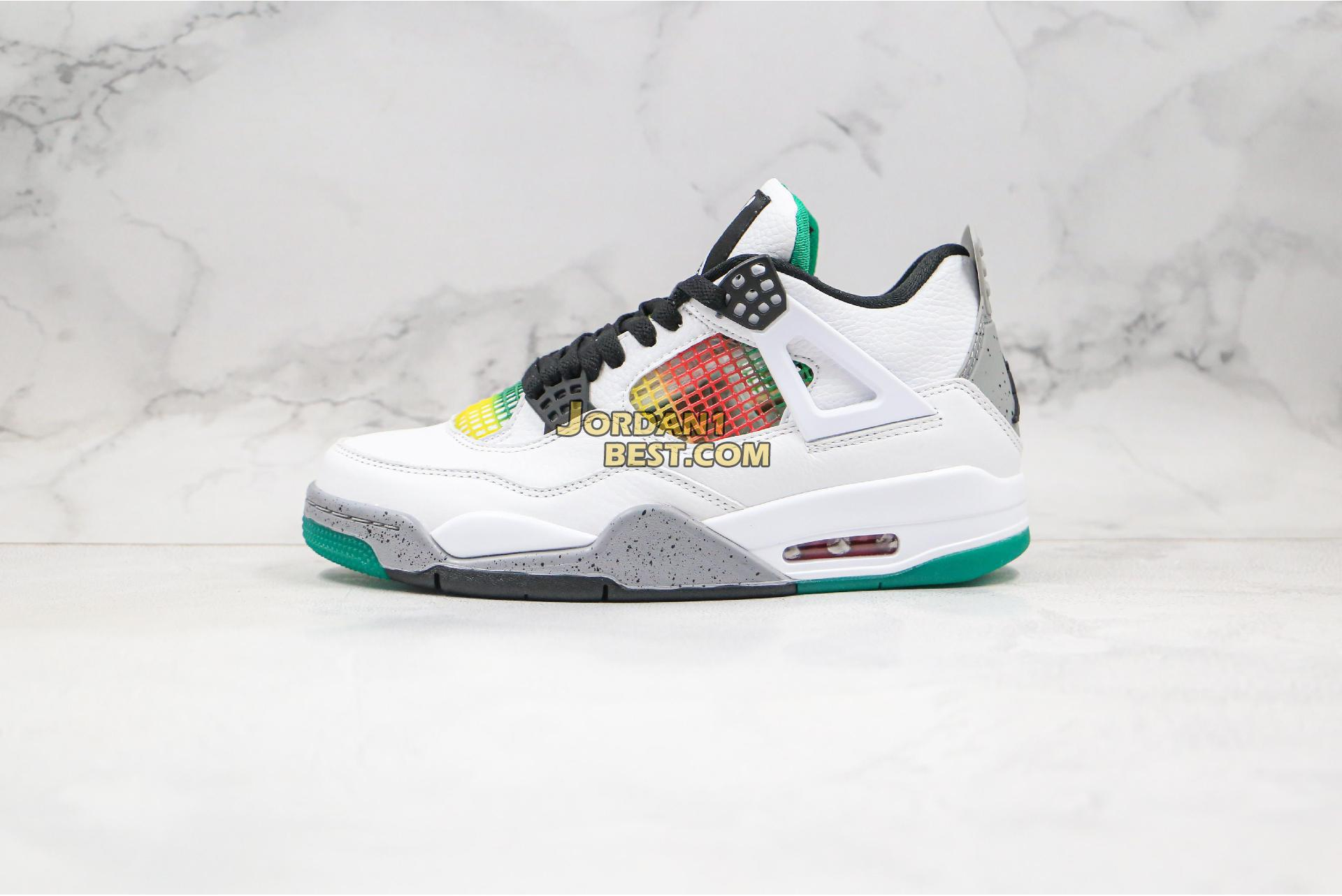 "new replicas Air Jordan 4 Retro ""Rasta"" AQ9129-100 Mens white/university red-lucid green-black Shoes"