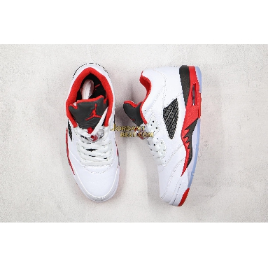 """AAA Quality Air Jordan 5 Retro Low GS """"Fire Red"""" 314338-101 Mens white/fire red/black Shoes"""