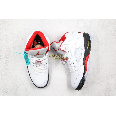 "new replicas 2020 Air Jordan 5 Retro ""Fire Red"" DA1911-102 Mens Womens true white/fire red/black/metallic silver Shoes"