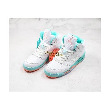 """best replicas Air Jordan 5 Retro GS """"Light Aqua"""" 440892-100 Mens Womens crimson pulse/light aqua-white Shoes"""
