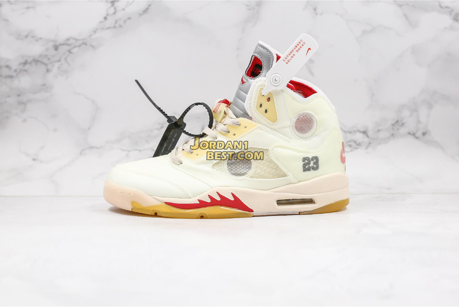"OFF-WHITE x Air Jordan 5 SP ""Plot Twist"" CT8480-100 Mens"