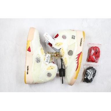 "best replicas OFF-WHITE x Air Jordan 5 SP ""Plot Twist"" CT8480-100 Mens sail/fire red-muslin-black Shoes"