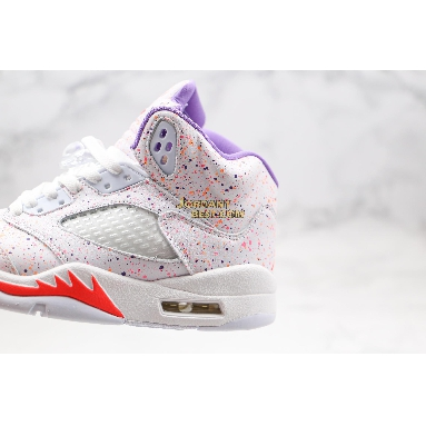 "fake Air Jordan 5 Retro GG ""Easter"" CT1605-100 Womens white/laser crimson/voltage purple Shoes"